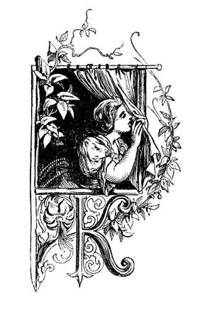Young woman at window, graphic chapter frontpiece with capital letter K, vintage