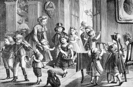 Marriage preparatives: festive and happy children at home, vintage engraving Stock Photo