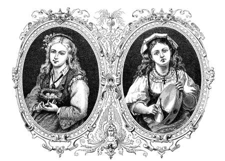 Happiness and affliction:  girl happy with nest, girl sad with broken tambourine, vintage engraving Stock Photo