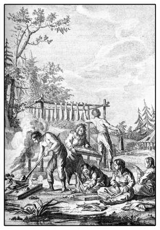Kamchatkans Preparing Fish to be Dried. Vintage engraving from Jean-Baptiste Le Prince , 1769