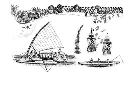 Dutch ships of Abel Tasman meeting Polynesian canoes  off the coast of Tongatapu Island, year 1643