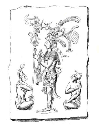 Aztec drawing with folk types and characters from the time of Alexander Von Humbolt expedition to Mexico 1803-1804