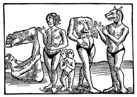 Vintage engraving, figments of medieval imagination,sailors tales about human monsters, woodcarving year 1550 Stock Photo