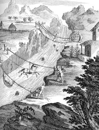 Year 1751 engraving, usual means of transport in South America to cross rivers in Andes region with grass braided cables