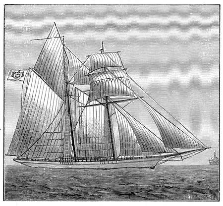Vintage engraving of the Hirondelle 200-ton sailing boat, exploration ship of Albert I prince of Monaco for his travel as oceanographer to the Mediterranean, the Antarctic and to the Azores.