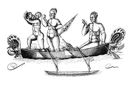Papuan natives of Bismark archipelago off the northeastern coast of New Guinea rowing in a traditional fishing boat, vintage engraving Stock Photo