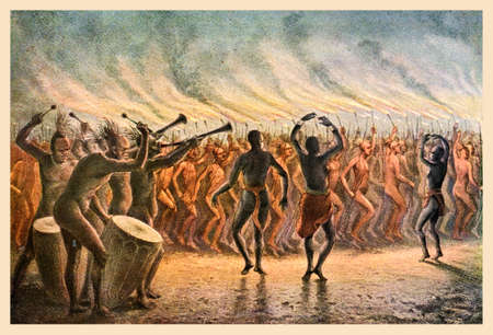 Vintage illustration of Bari-Neger of Mozambique war dance, East Africa Stock Photo