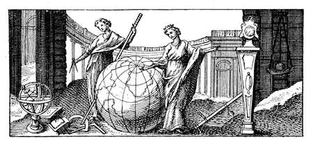 The earth globe representation and allegory, vintage engraving year 1741