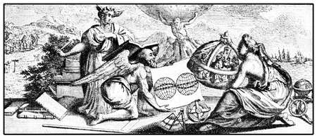 The new  world, engraving from the atlas  Le Nouveau Theatre du Monde  published in 1713 by the Duch cartographer Pieter Vander Aa   Stock Photo