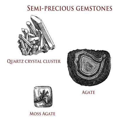 vintage illustration of semi-precious gemstones: quartz, agate and moss agate