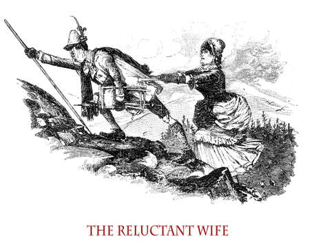 The reluctant wife accompanying her husband to mountain climbing, vintage caricature and fun Stock Photo