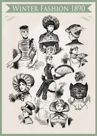 Fashion 1890 caricature and fun:  unpredictable winter outfits and headdresses with fur, ready for a party
