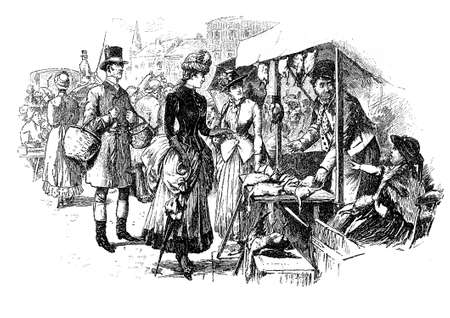 Lady goes shopping at market and negotiates a bargain,vintage caricature and fun