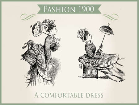 Fashion early 1900: a comfortable dress, caricature and fun