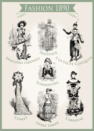 Fashion 1890 caricature and fun: very unpredictable outfits appropriate for a Carnival party Editorial