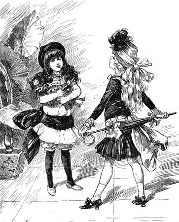 Vintage caricatures and fun: fashionable young girls confronting each other with fancy outfits