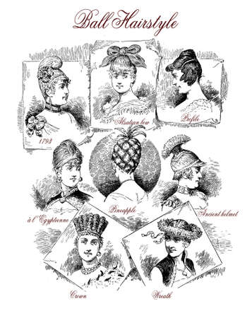 Fashion 1890 caricature and fun: clever hairstyles for a ball