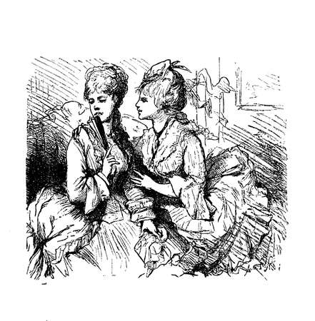 Vintage caricatures and fun, two young ladies and the malicious gossip Stock Photo