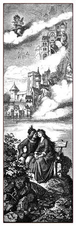 Young lovers sitting embraced, medieval castles and Cupid playing a tune from above, old print