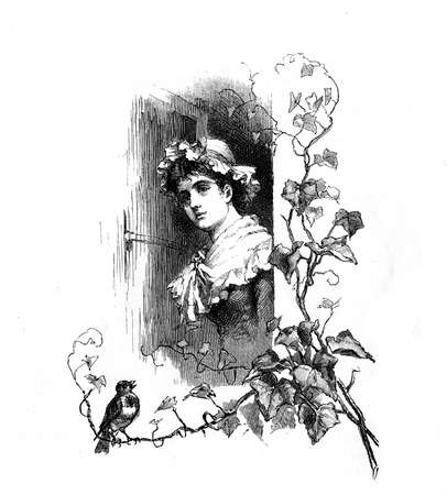 Spring again, lovely girl at the window and a bird chirping, vintage engraving