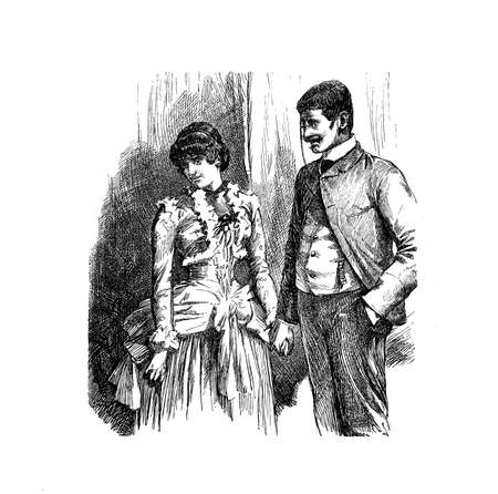 Gentleman courting a shy young woman holding hand, vintage engraving