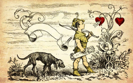 Vintage Valentine card with copyspace: cute Cupid goes hunting for hearts with bow and arrows
