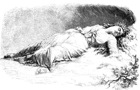 Sleeping beauty, romantic vintage engraving