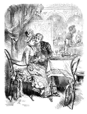 Romance at the restaurant: young man courting a shy girl in a booth, vintage engraving