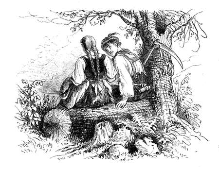 Countryside romance, peasant boy courting a girl, vintage Valentine engraving