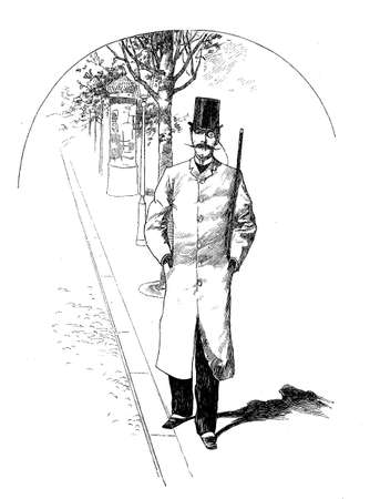 Fashionable gentleman with monocle and moustache takes a walk in town, vintage caricature