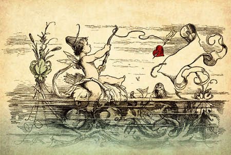 Vintage Valentine card with copyspace: cute Cupid fishes hearts with bow and arrows from a pond