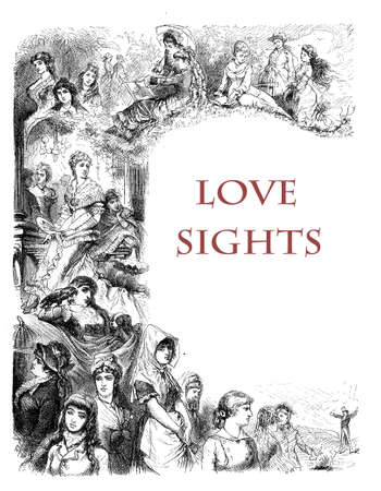 Women and inspiring love, a collection of love sights, XIX century engraving Stock Photo