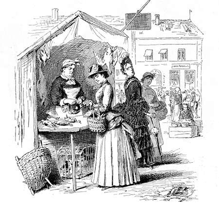 young woman shopping for poultry at the city market, vintage engraving