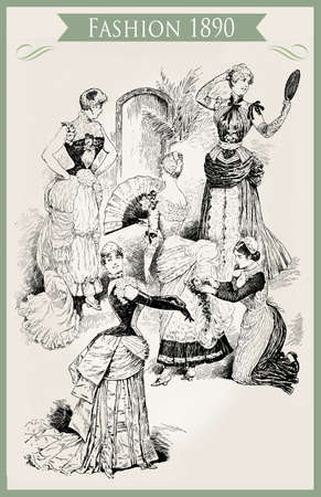 Fashion 1890 caricature and fun:  young ladies with fans, frills and laces ready for a party and a maiden for the final touch