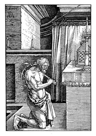 Flesh mortification: I am a flagellate penitent,  by Albrecht Dürer, year 1510 engraving Stock Photo