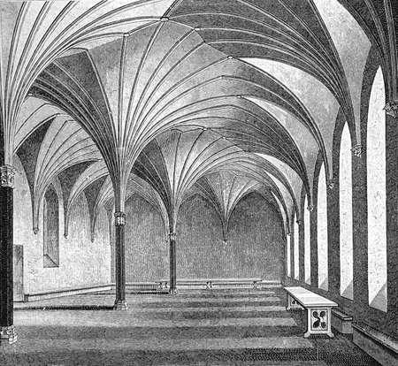 Marienburg - Malbork Castle; large brick castle built by the Teutonic Knights (now Poland): refectory hall; XV century