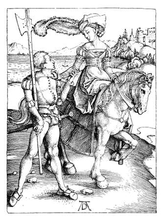 The Lady on Horseback and the Lansquenet by Albrecht Dürer, year 1497