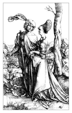 Young Couple threatened by Death by Albrecht Dürer, year 1498. Noble couple promenade, while death with hourglass looks at them, behind a tree trunk.