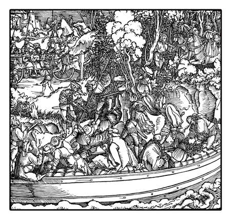 Robber barons tolling station: feudal landowners robbing travelers and merchants on river traffic, by Hans Schauffelein, year 1532 engraving