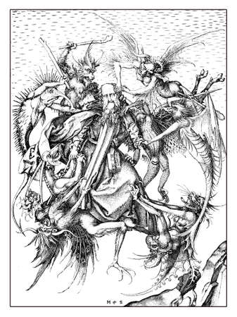 The Temptation of St Anthony that the Christian monk Anthony the Great faced during his desert pilgrimage, engraving by Martin Schongauer, year 1470  Stock Photo