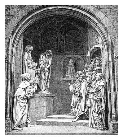 Church representation of a religious folk play with Christ, Calvin and Martin Luther, XVI century Stock Photo