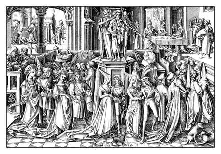 The Dance of the Daughters of Herodias, engraving by Israhel van Meckenem (1445 – 1503), year 1503