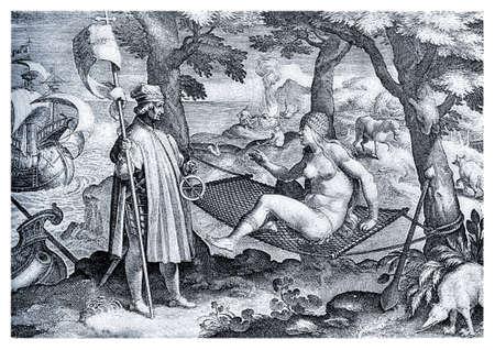 First encounter of navigator Amerigo Vespucci with native Americans,allegorical illustration XVI century