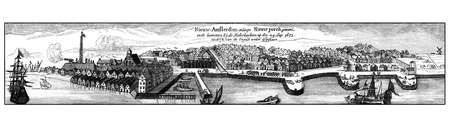 Vintage engraving of New Amsterdam, then New York, from the sea, XVII century