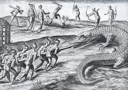 Vintage engraving of crocodile hunt from Florida natives, year 1591