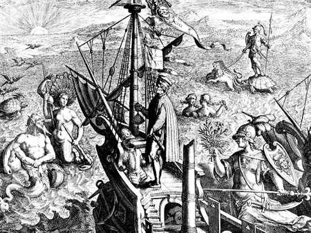 Allegory of America discovery from Amerigo Vespucci, XVI century illustration Stock Photo