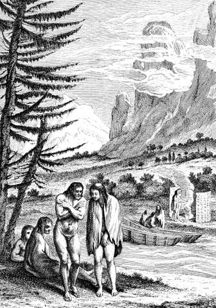 Portrait of people native of Patagonia, South America, 1754 year engraving