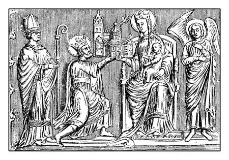Silver shrine bas-relief with Charlemagne or Charles the Great offering the city cathedral to the Virgin May on a throne, flanked by an angel and a bishop, guarded in Aachen cathedral