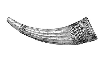 Olifant,medieval ivory hunting horn made of elephant tusk, owned by Holy Roman emperor Charles the Great or Charlemagne,guarded in Aachen cathedral