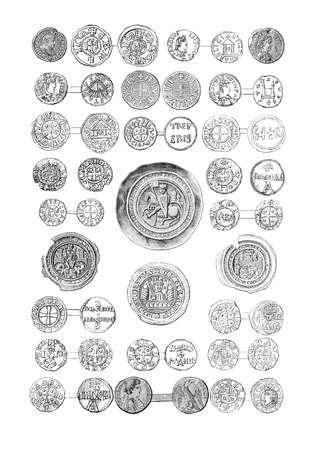 Vintage engraving of medieval coins of German kings and emperors